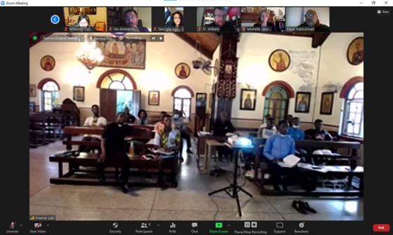 Closing session of the OCMC Ghana Train the Trainers virtual team at the Holy Transfiguration Cathedral in Accra.
