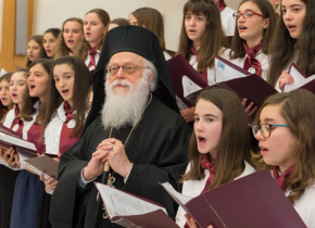 Archbishop Anastasios and the children's choir on Christmas, 2019